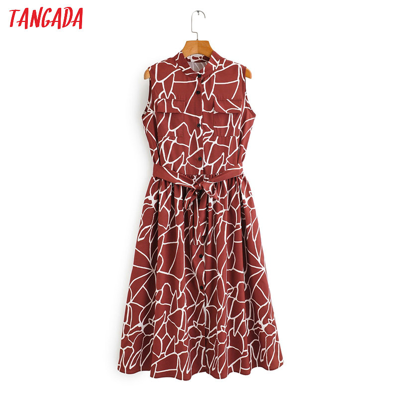 Tangada Fashion Women Print Sleeveless Dress For Summer 2020 New Arrival Ladies Pocket Slash Midi Dress Vestidos 2F10