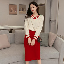 2019 Autumn Winter Women Clothing Sets Long Sleeve Pullover Sweater + High Waist Skirt Two Piece Sets Female Skirt Suits TA99321(China)