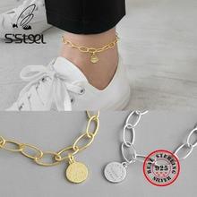 S'STEEL 925 Sterling Silver Anklets For Women Geometry English Disk Gold Color Enkelbandje Zilver Foot Acessorios Fine Jewelry