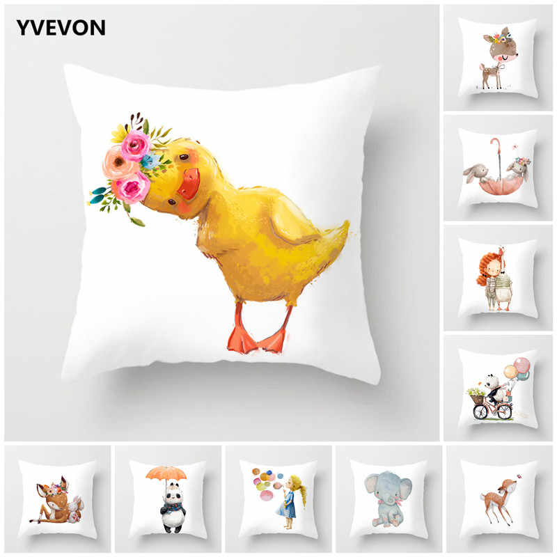Cartoon Animal Throw Pillows Yellow Duck Decorative Case Cushion Cover Home Decor Elephant Rabbit Sofa Car Seating 45cm 18inch