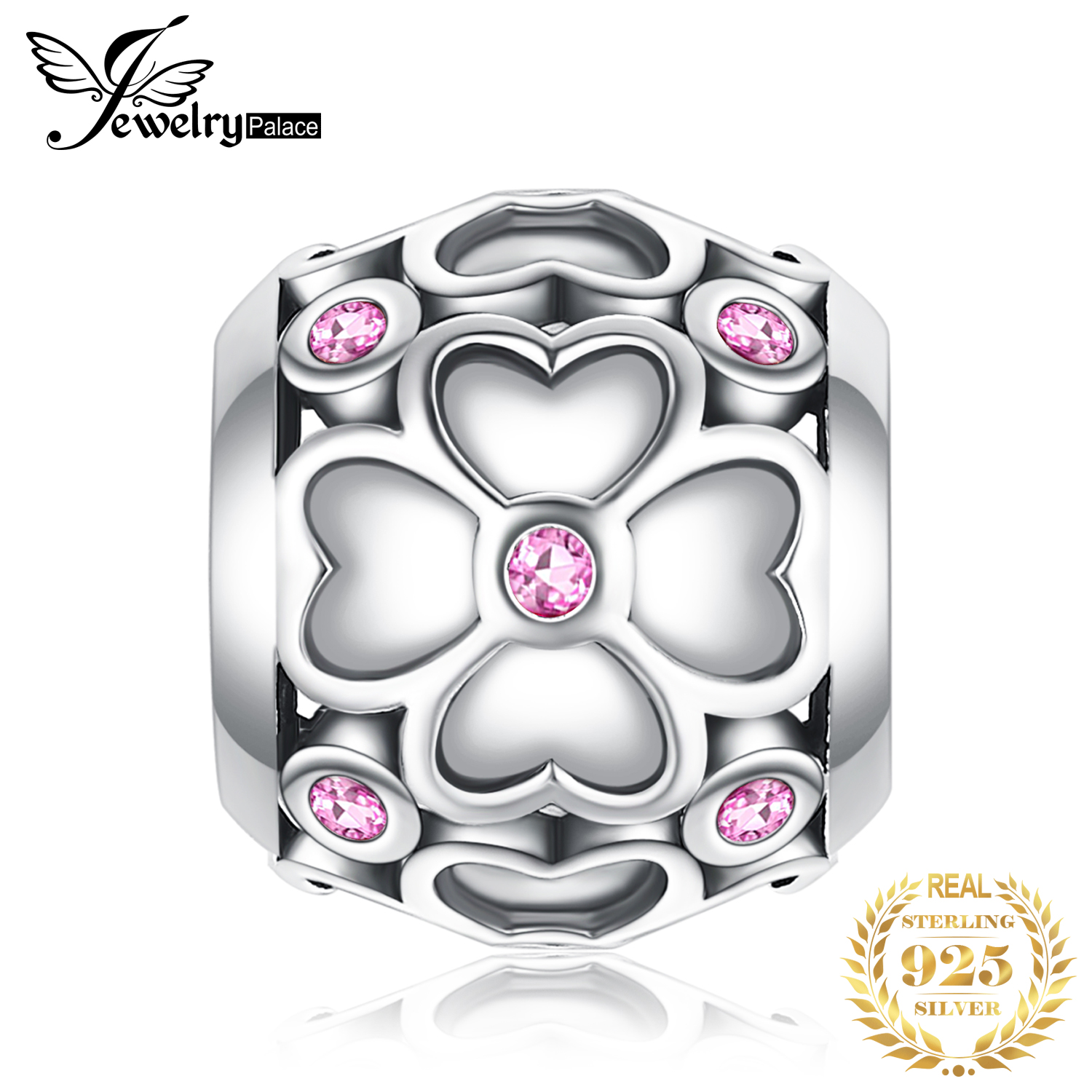 JewelryPalace Clover Flower 925 Sterling Silver Beads Charms Silver 925 Original For Bracelet Silver 925 Original Jewelry Making