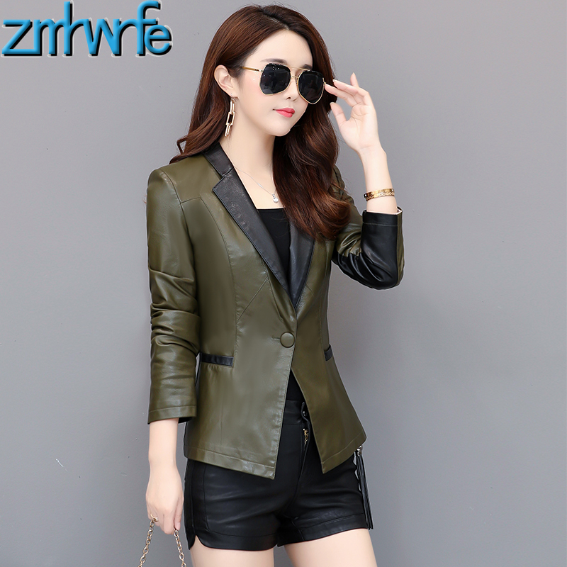 New Plus Size 3XL   Leather   Suit Women   Leather   Blazer 2019 Spring Fashion Coat Female Outerwear Ladies Jackets
