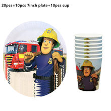 20pcs disposable cups+plate Fireman Sam theme party decorations baby shower party supplies Fireman Sam theme disposable cups(China)