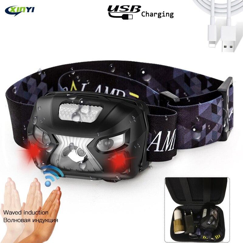 10000Lm linterna frontal recargable LED cuerpo del faro Sensor de movimiento cabeza linterna de acampada lámpara con USB