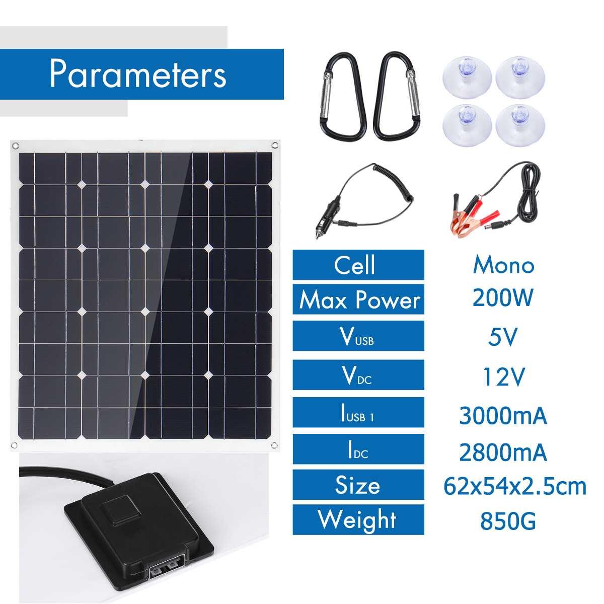 Nouveau silicium monocristallin Flexible du panneau solaire 18V 5V de 200W avec le contrôleur 10/20/30A pour la batterie solaire extérieure - 2