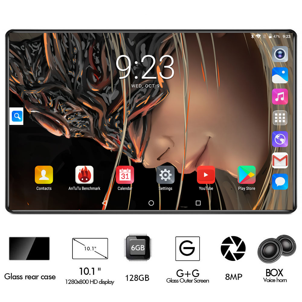 2020 New 10 Inch Tablet Octa Core 3G 4G FDD LTE 6GB RAM 128GB ROM 1280*800 Dual Cameras 8.0MP Android 9.0 OS GPS Pad Gifts