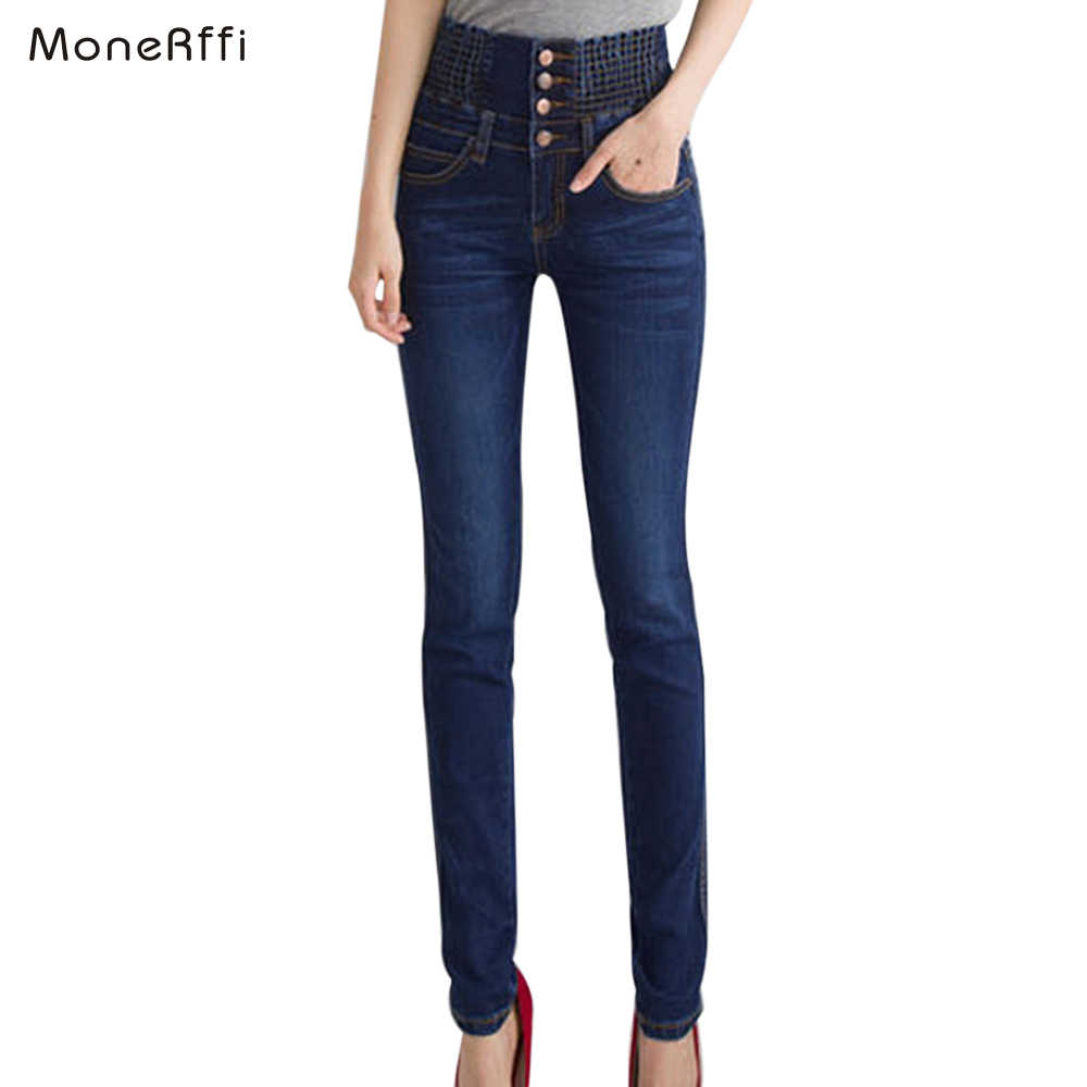 MoneRiff Womens Winter Jeans High Waist Skinny Pants Fleece Lined Elastic Waist Jeggings Casual Plus Size Jeans Women Warm Jeans