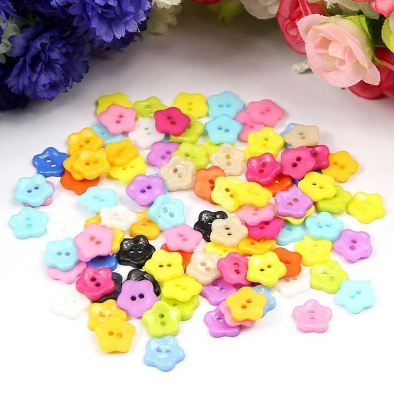 Promoção! 100 pces 12mm cor misturada ameixa flor botões de resina acessórios de costura
