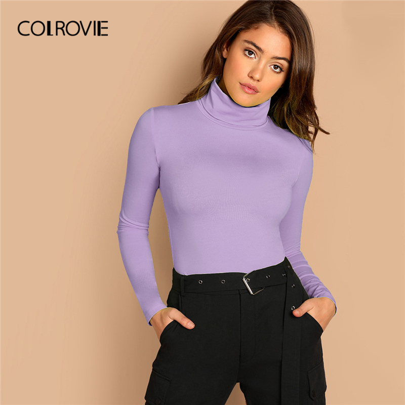 COLROVIE Purple High Neck Form Fitted Tee Women Long Sleeve Solid Casual Tees 2019 Fall Slim Elegant Minimalist Pullover Tops