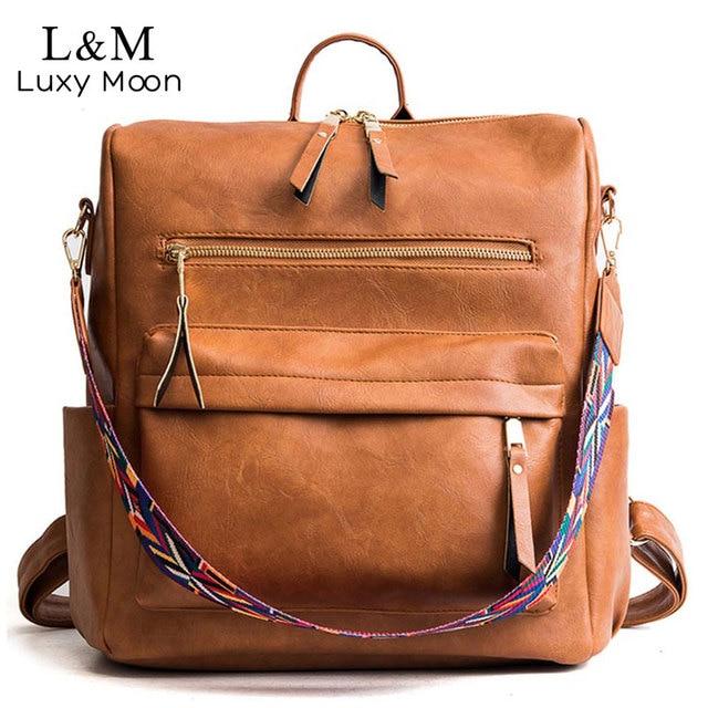 Retro Large Backpack Women PU Leather Rucksack Womens Knapsack Travel Backpacks Shoulder School Bags Mochila Back Pack XA96H