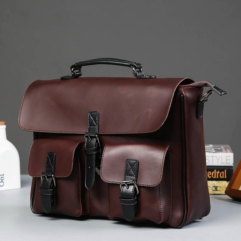 Scione Men Leather Bag Men's Laptop Briefcase Bag Vintage Male Office Messenger Bag Business Leather Briefcase Bags For Man