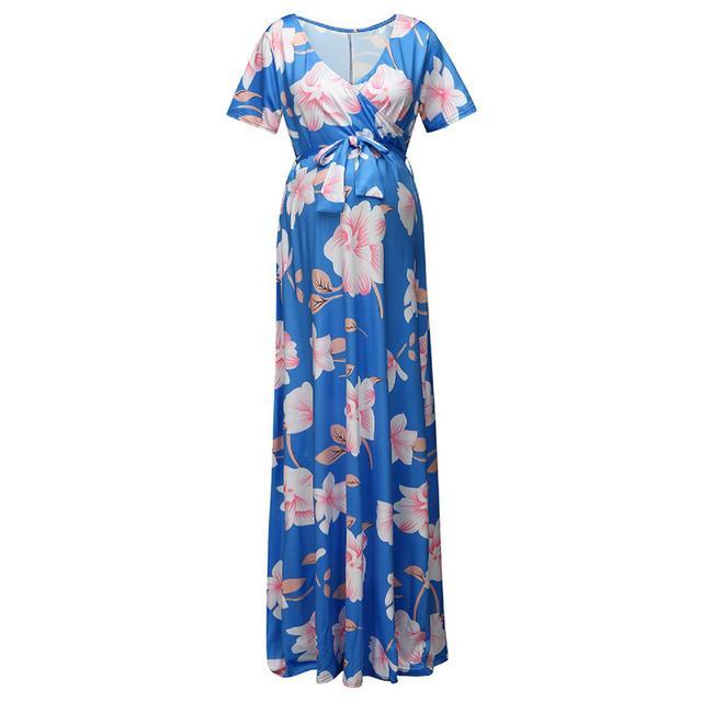 Women's Floral Short-sleeved Dress for Pregnancy 4