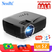 Newpal Projector 1200 Lumens LED Projector Home Theater Set in Android 4.4 WIFI Bluetooth Support Miracast Airplay AC3 Proyector vivicine smart pico projector p09 android 6 0 bluetooth built in 4000mah battery smart miracast airplay mobile proyector beamer