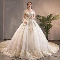 New Luxury Boat Neckline Bridal Dress Ball Gown Big Bow Back Wedding Dress Lace Embroidery Beading Long Train vestidos de noiva