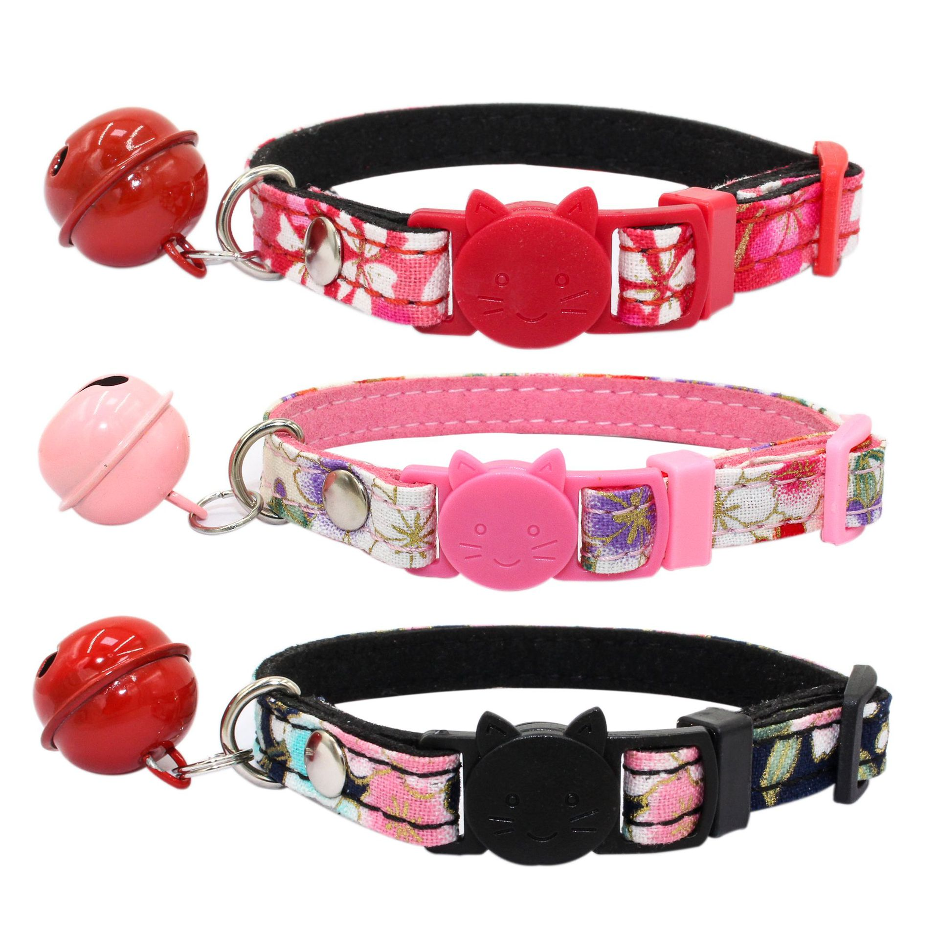 Cute Cat Head Safety Buckle And Wind Cat Neck Ring With Bell Small Dog Chain Printed Pet Collar Amazon Hot Sales