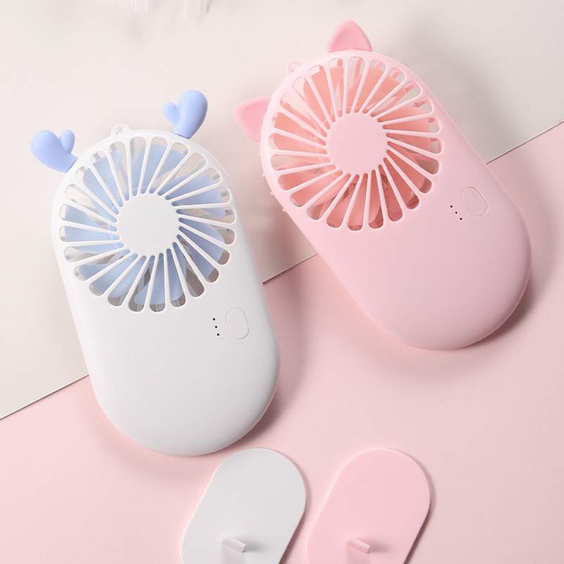 New Pattern Mini Fan Cute Portable Handheld USB Chargeable Desktop Fans 3 Mode Summer Cooler For Outdoor Office Desk Stand  Fan