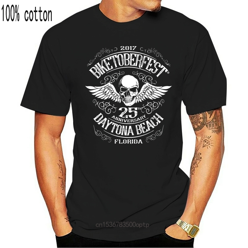 T Shirt short sleeve Bikeoktoberfest Daytona Skull Motorcycle Biker Rocker women tshirt