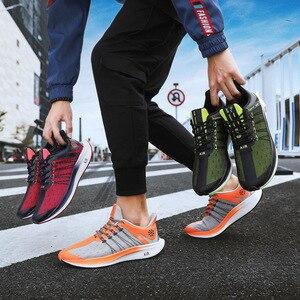 Image 5 - ホット販売オレンジグレーサイズ 46 月面男性トレーナーシューズエアメッシュ通気性レース弾性グライド男性スニーカーエア靴 tenis hombre