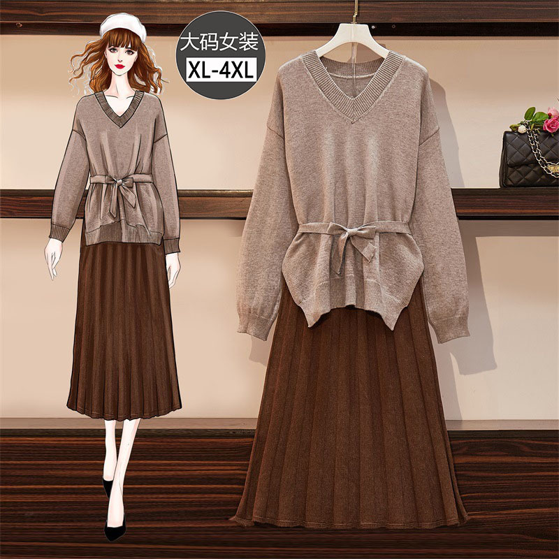 Large Size Dress New Style Autumn And Winter Large GIRL'S V Neck Sweater Slit Lace-up Waist Hugging Elastic Waist Skirt Two-Piec
