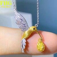 18K Au750 White Gold Necklace 0.39Carat Nature Yellow diamond Hummingbird Necklace Wedding Party Engagement Anniversary 2