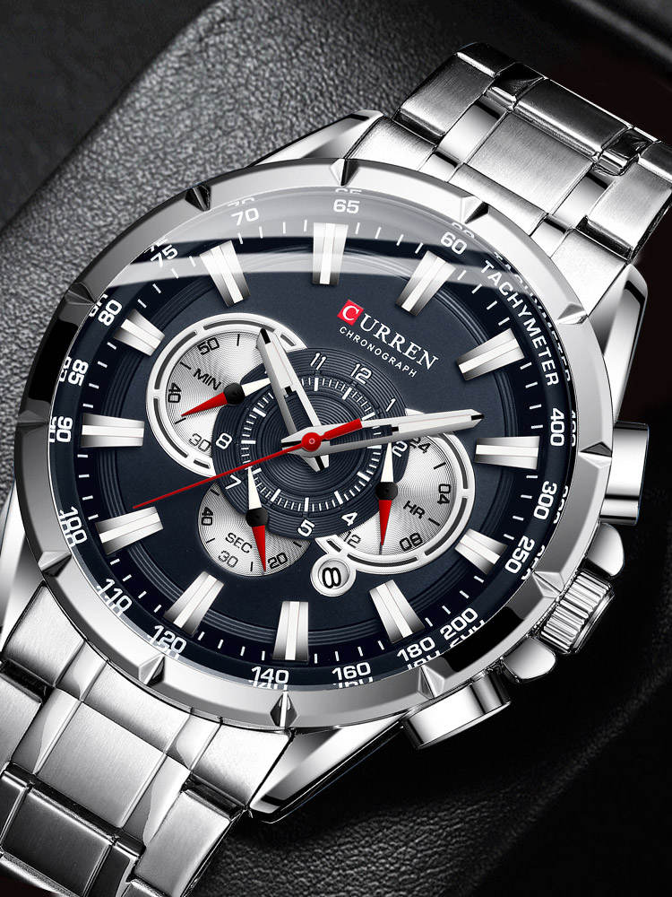 Men's Watches Band-Wristwatch Quartz-Clock Dial Sport Chronograph Stainless-Steel CURREN