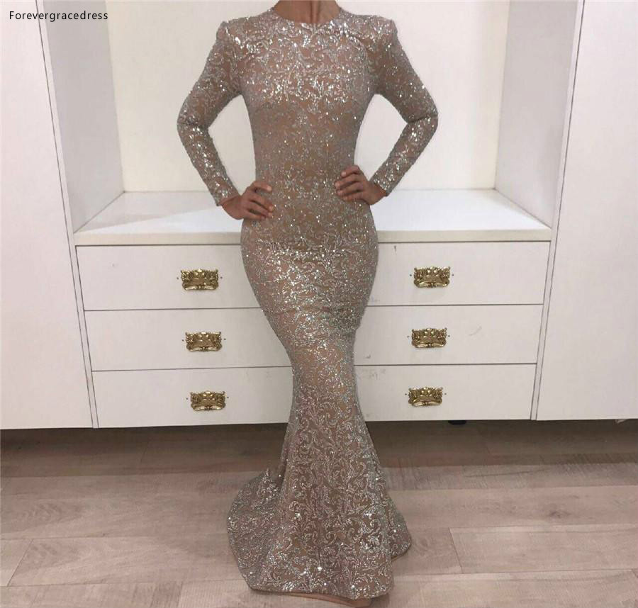 Real Pictures 2018 Crystal Evening Gowns Dark Champagne O-neck Prom Dresses Long Sleeve Shiny Sliver Yousef Aljasmi Mermaid Party Dresses 146 (1)
