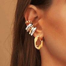 Einfache Geometrische Ohrringe für Frauen Elegante Gold Farbe Erklärung Metall Baumeln Ohrringe Ohr manschette Partei Schmuck