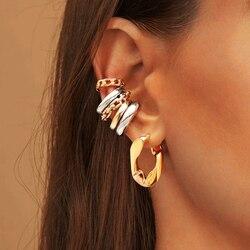 Simple Geometric Drop Earrings for Women Elegant Gold Color Statement Metal Dangle Earrings Ear cuff Party Jewelry