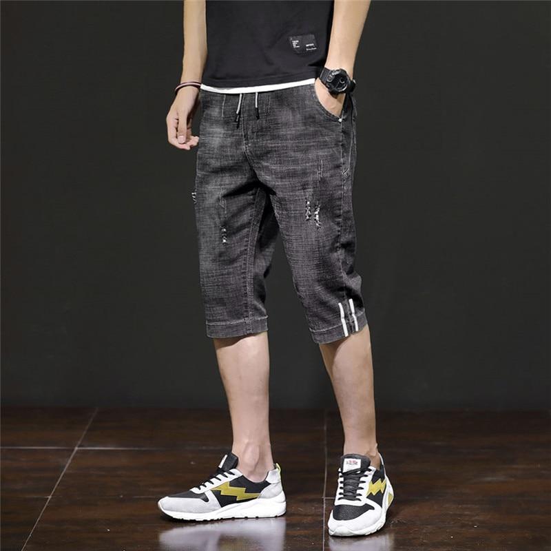 2019 New Men Jeans Shorts Knee Length Summer Male Clothing Casua Blue Destroyed Pockets Denim Short Stripe Shorts Jeans Pants