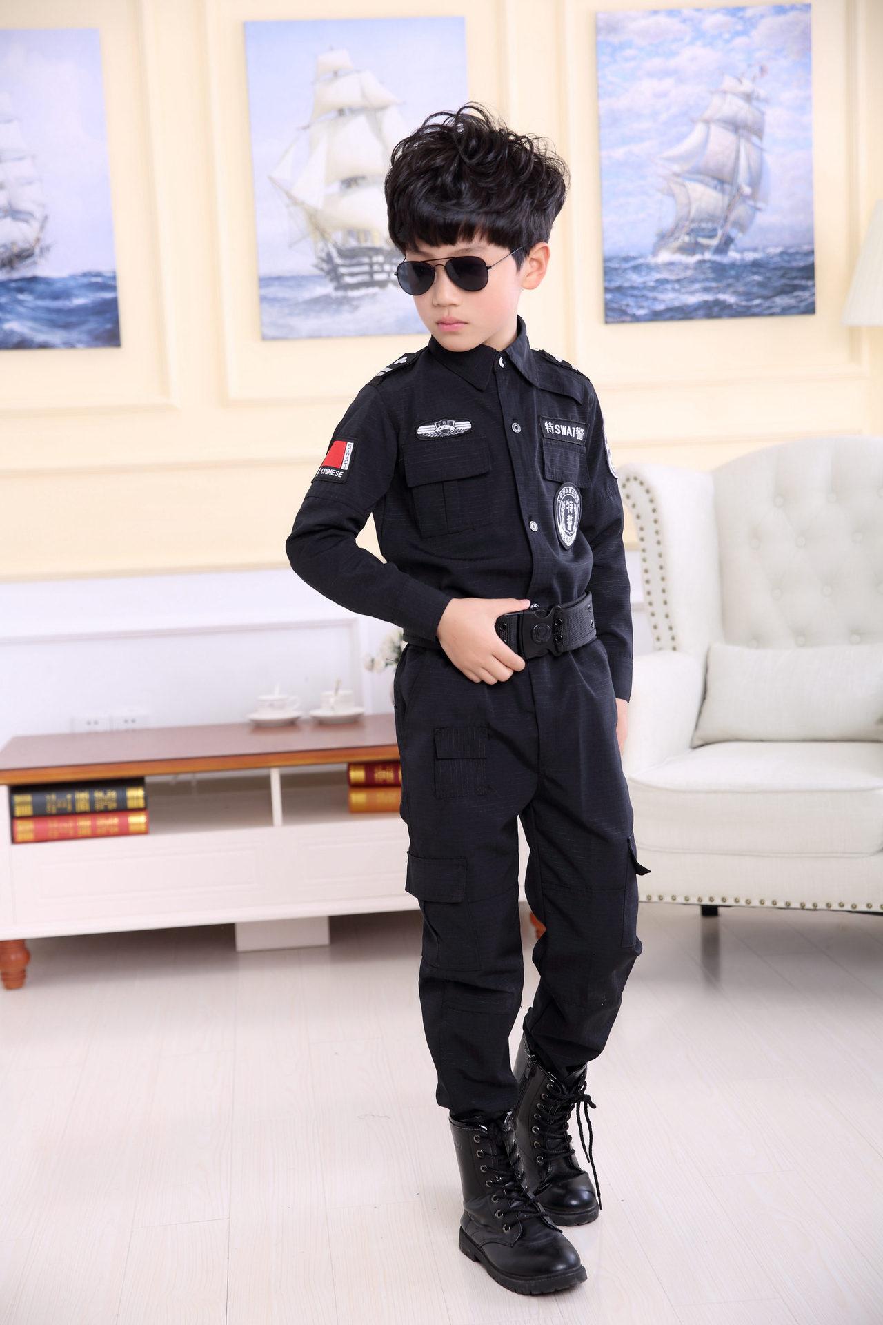 New Style CHILDREN'S Costume Traffic Police Uniform Set Nursing Performance SWAT Costumes Less Children Secret Service Clothing