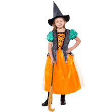 цена на Orange Pumpkin Witch Costume Cosplay For Kids Halloween Costume For Children Carnival Performance Party Dress Suit