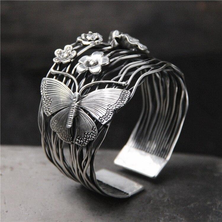100% браслет из стерлингового серебра 925 пробы, женский браслет в стиле ретро с бабочкой, широкая версия, открытые браслеты, ювелирные женские