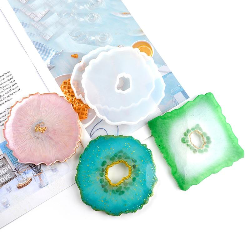 Новые нестандартные подставки под чашку, поднос, чайный набор, зеркальное УФ-покрытие из смолы, украшение для стола, «сделай сам», кристаллы ...
