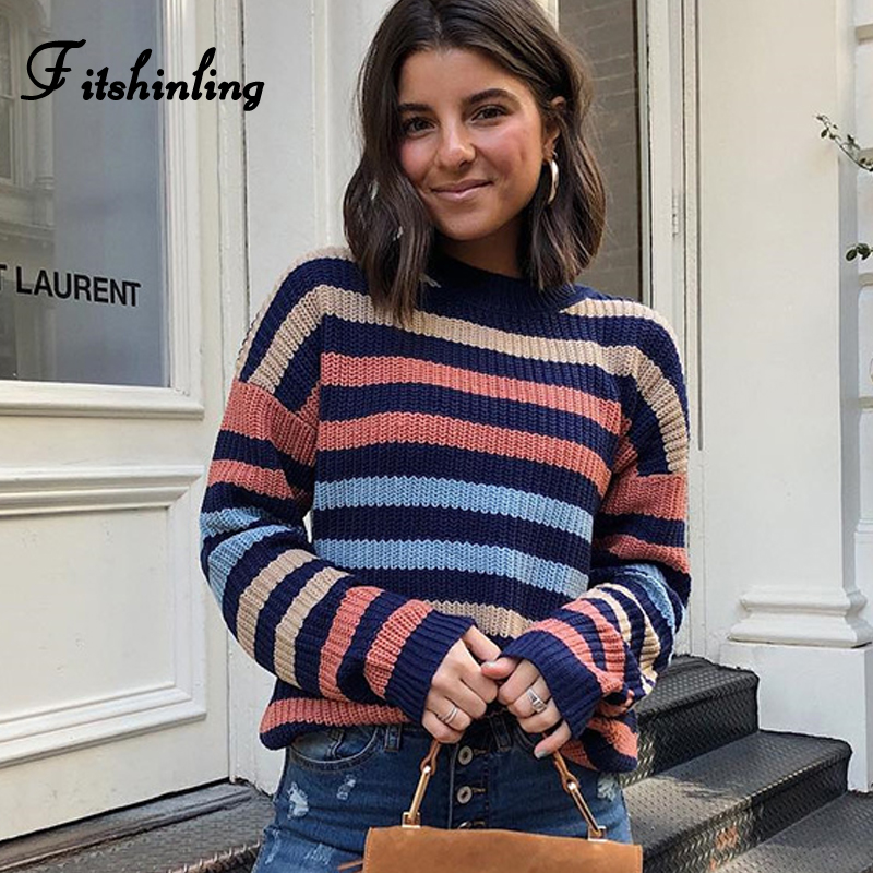Fitshinling Multicolor Striped Women Sweaters And Pullovers Knitwear Long Sleeve Slim Jumper Pull Femme Winter Ladies Sweater