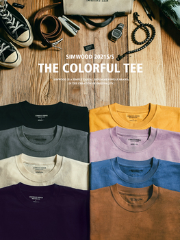 SIMWOOD 2021 Summer New 250g 100% Cotton Fabric T-shirt Men High Quality Solid Color Drop Sleeve Loose Tshirts Oversize Tops 1