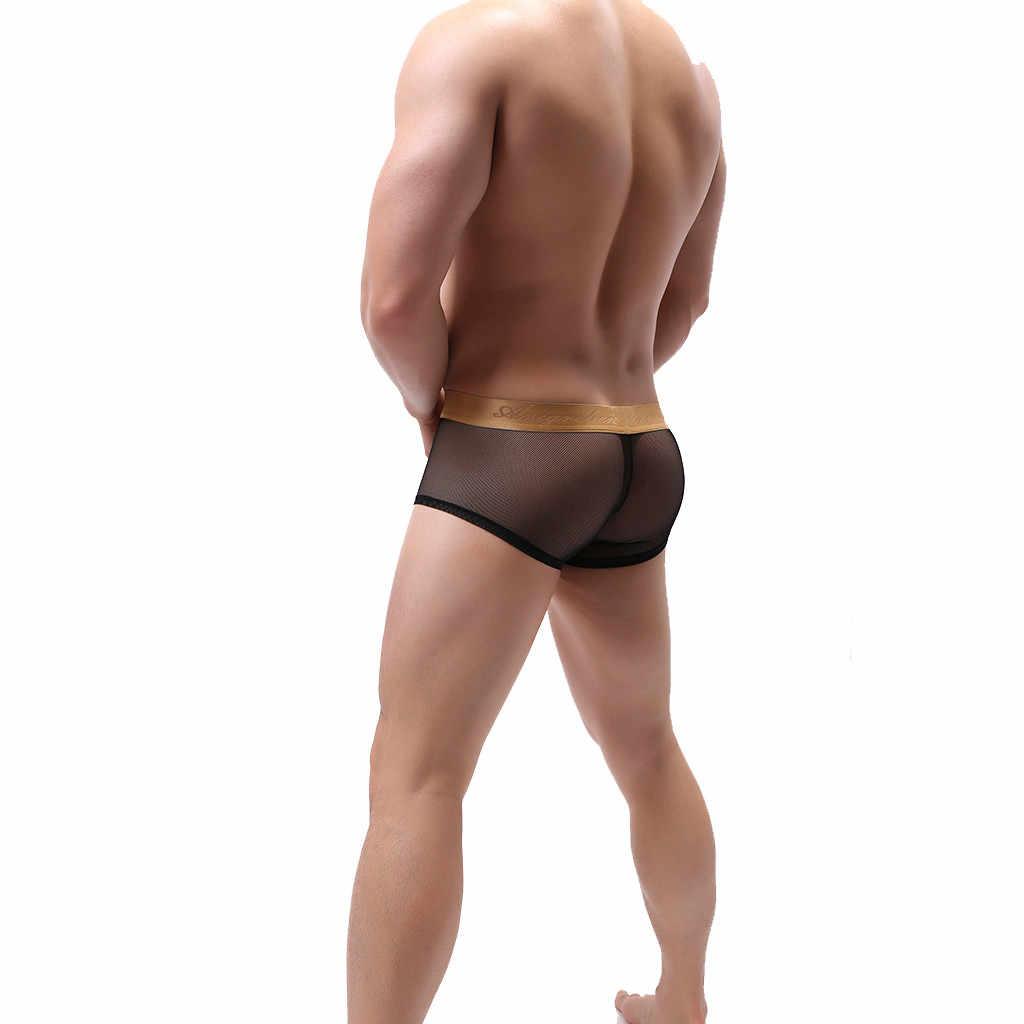 Sexy Lingerie Mannen Sexy Ondergoed Heren Boxers Ademende Transparante See Through Netto Garen Boxer Shorts Slipje Cueca Masculina