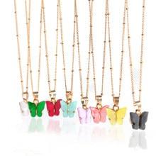 Collares con colgante de mariposa y oro rosa para niña y mujer, Gargantilla, joyería elegante, regalo, 2020