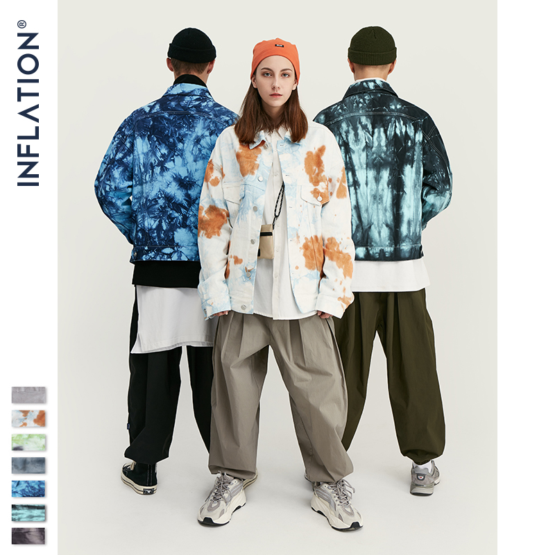 INFLATION Design Tie Dye Denim Jacket Men 2019 FW Streetwear Oversize Jeans Jacket Men Hip Hop 100% Cotton Men Outerwear 9745W
