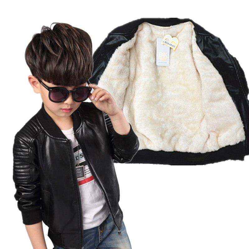 Fashion Baby Leather Boy Jacket  Fleece Jacket  Boys Coats   Manteau Garcon Kids  Jacket  2019