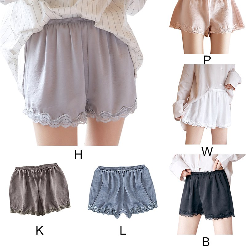 Solid Color Cotton Blend Stretchy Lace Side High Waist   Shorts   Tight Three-point Pants Thin Anti-lighting   Short   Pant.w