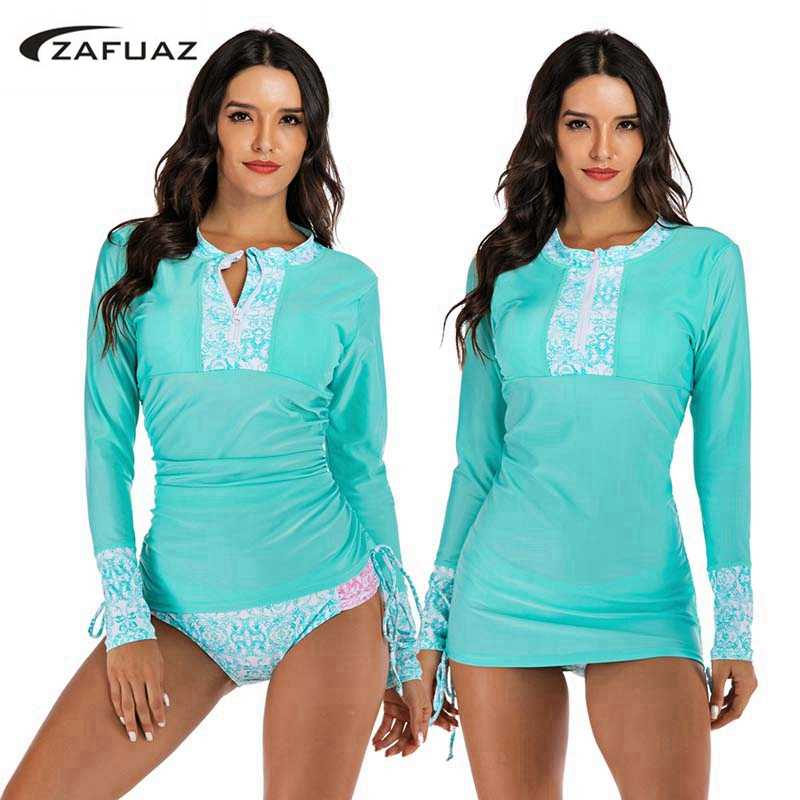Solid Tweedelige Tankini Rok Plus Size Badmode Vrouwen 2019 Surf Swim Suits Badpak Lange Mouwen Rash guard Swimdress strand