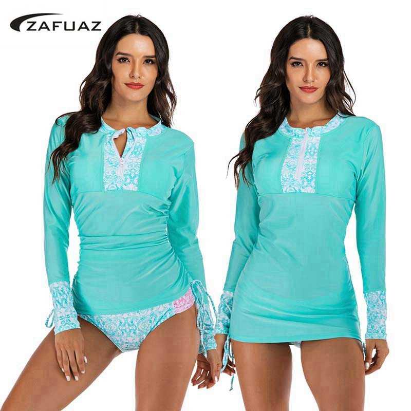 Solid Tweedelige Tankini Rok Plus Size Badmode Vrouwen 2019 Surf Swim Suits Badpak Lange Mouwen Rash guard Swimdress strand