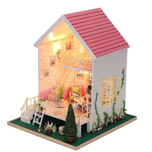 DIY Wooden Miniature Dollhouse Princess Villa Series Furniture For Doll House With Light Kit Toys For Girls Birthday Gift