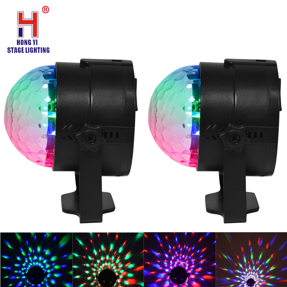 Led 3W RGB Crystal Magic Ball Stage Effect Light With Remote Control DJ Lighting For Party Disco Club DJ Light Show (2pcs/lot)