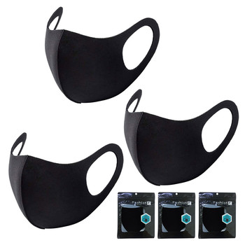3PCS Black Washable Mask 3 Layer Health Cycling - Cotton Mouth Face Mask or Men Women Reusable Mondkapjes Wasbaar Mascarillas image