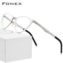 FONEX Acetate Glasses Frame Women Cat Eye Prescription Eyeglasses Myopia Optical Frame Cateye Spectacle Screwless Eyewear 618