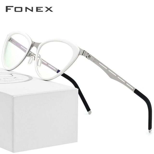 FONEX asetat gözlük çerçeve kadınlar kedi göz reçete gözlük miyopi optik çerçeve Cateye gözlük vidasız gözlük 618