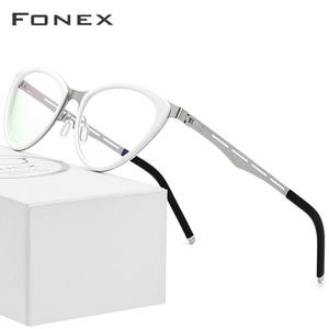 Image 1 - Fonex acetato óculos quadro feminino cat eye prescrição óculos miopia quadro óptico cateye óculos screwless 618