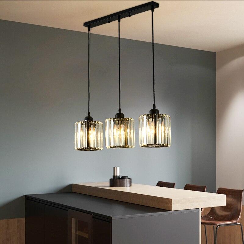 Nordic led sala de jantar pingente lâmpada preto 3 cabeças vidro abajur cristal pendurado luz para villa lobby cozinha decoração casa