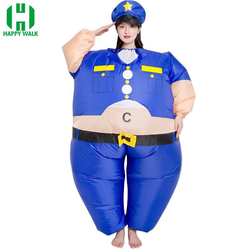 Надувной костюм на Хеллоуин Женский Косплей Забавный толстый полицейский надувная одежда Мультяшные куклы надувная модель для взрослых